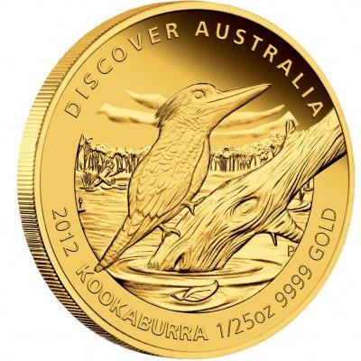 "Gold Coin KOOKABURRA 2012 ""Discover Australia 2012"" Series - 1/25 oz, Proof"