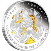 "Silver Coin KING BROWN SNAKE ""Discover Australia 2009 Dreaming"" Series"