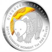 """Silver Coin COMMON WOMBAT """"Discover Australia 2010 Dreaming"""" Series"""