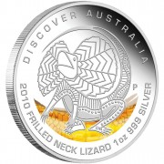 """Silver Coin FRILLED NECK LIZARD """"Discover Australia 2010 Dreaming"""" Series"""
