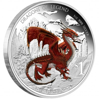 """Silver Coin RED WELSH DRAGON 2012 """"Dragons of Legend"""" Series"""