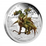 "Silver Colored Coin THREE HEADED DRAGON 2013 ""Dragons of the World"" Series, Tuvalu - 1 oz"