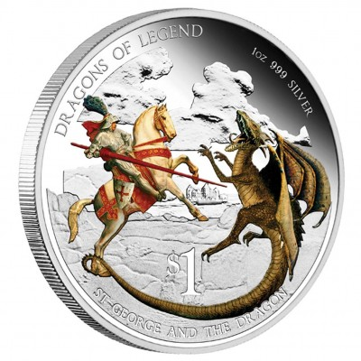 "Silver Coin ST GEORGE AND THE DRAGON 2012 ""Dragons of Legend"" Series, Australia - 1 oz"