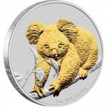 Silver Gilded Edition Coin AUSTRALIAN KOALA 2010