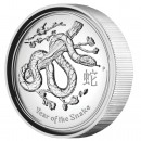 "Silver High Relief Coin YEAR OF THE SNAKE 2013 ""Lunar II"" Series - 1 oz"
