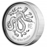 """Silver High Relief Coin YEAR OF THE SNAKE 2013 """"Lunar II"""" Series - 1 oz"""