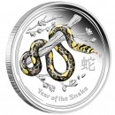 "Silver Colored Coin YEAR OF THE SNAKE 2013 ""Lunar II"" Series - 1/2 oz"