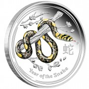 "Silver Colored Coin YEAR OF THE SNAKE 2013 ""Lunar II"" Series - 1 kg with Gemstone"