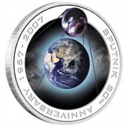 Серебряная орбитальная монета 50 ЛЕТ СО ДНЯ ЗАПУСКА ПЕРВОГО СПУТНИКА 1957 - 2007