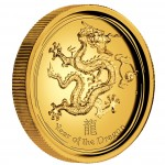 """Gold High Relief Coin YEAR OF THE DRAGON 2012 """"Lunar II"""" - 1oz, Proof"""
