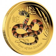 "Gold Colored Coin YEAR OF THE SNAKE 2013 ""Lunar II"" Series - 1/10 oz, Proof"