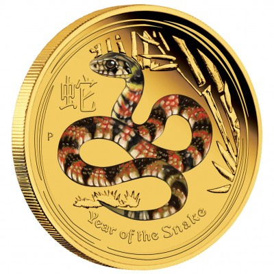 """Gold Colored Coin YEAR OF THE SNAKE 2013 """"Lunar II"""" Series - 1/4 oz, Proof"""