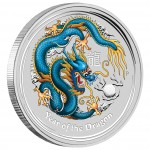 """Silver Colored Coin YEAR OF THE DRAGON 2012 """"Lunar II"""" - 1oz"""