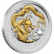 "Silver Gilded Edition Coin YEAR OF THE DRAGON 2012 ""Lunar II"" Series"