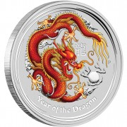 "Silver Coin YEAR OF THE DRAGON 2012 ""Lunar II"" Series GEMSTONE EDITION - 1 Kilo"