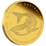 "Gold Coin GREAT WHITE SHARK ""Discover Australia 2011 Dreaming"" Series - 1/25oz"