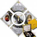 Niue Island Arkhangelskoe - International Pearl  $10 Five Gilded Colored Silver coin set Pearl Insert Proof 2014 ~2.6 oz