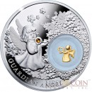 Niue Guardian Angel $2 Silver Coin Proof with Silver Gold-plated Filigree Insert and Swarovski Element 2014
