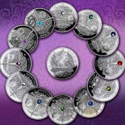 Niue The Magic Calendar of Happiness Silver 12 Coin Set $12 Swarovski 2013-2014 Proof ~4 oz