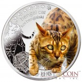 "Niue Bengal Cat Silver Coin ""Man's best friends - Cats"" Series $1 Colored 2014 Proof with Swarovski"