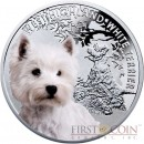 "Niue West Highland White Terrier Silver Coin ""Dogs - Man's best friends"" Series $1 Colored 2014 Proof"