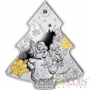 Niue Island Christmas Tree $2 Gilded Silver Coin 2014 Swarovski Elements Proof 1 oz