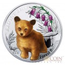 "Niue Brown Bear Silver Coin ""Forest Babies"" Series $1 Colored 2014 Proof"