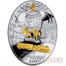 Niue Trans-Siberian Railway Egg $2 Imperial Faberge Eggs series Gilded Silver Coin 2014 Oval Shape Proof 1.8 oz