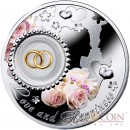Niue Wedding Coin LOVE and HAPPINESS $2 Colored Silver 2014 Proof with Silver 24K Gold-plated Filigree Insert