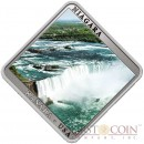Niue Niagara Waterfall $1 Square-shaped Swarovski Elements Colored Silver Coin Proof 2014