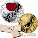 Niue Just Married Wedding $2.50 Two coin Set Silver coin & Gilded Brass coin Rubin inlay 2014 Proof  ~ 2 oz
