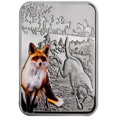 Серебряная монета ОХОТА НА ЛИСУ 2012 серии «Искусство Охоты»