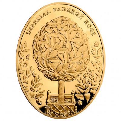 Золотая монета ЯЙЦО ЛАВРОВОЕ ДЕРЕВО 2012 серии «Императоркие Яйца Фаберже»