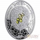 Niue Island Clover Leaf Egg $2 Imperial Faberge Eggs series Silver Coin 2010 Oval  Zircons Proof 1.8 oz
