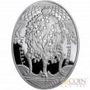 Niue Island Lily of the Valley Egg $2 Imperial Faberge Eggs series Silver Coin 2010 Oval  Swarovski Crystals Proof 1.8 oz