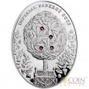 Niue Island Bay Tree Egg $2 Imperial Faberge Eggs series Silver Coin 2012 Oval 4 Zircons Proof 1.8 oz