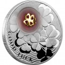 "Silver Coin FOUR-LEAF CLOVER 2012 ""Lucky coins"" Series with 24K Gold Plated Piece"