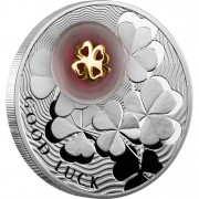 """Silver Coin FOUR-LEAF CLOVER 2012 """"Lucky coins"""" Series with 24K Gold Plated Piece"""
