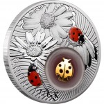 """Silver Coin LADYBIRD 2012 """"Lucky coins"""" Series with 24K Gold Plated Piece"""