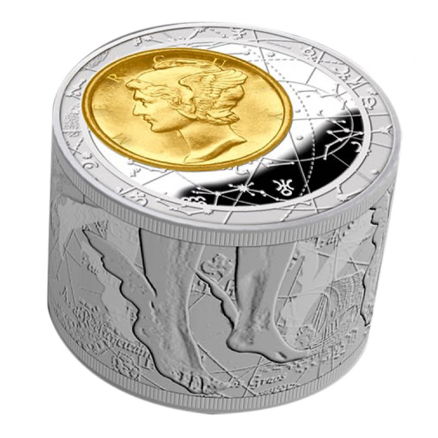 Silver Cylinder Shape Glided Coin 50 Fortuna Redux 3d