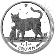 Silver Coin Bengal Cat and Kitten 2002 Cats Series - 1 oz