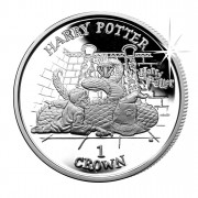 """Copper-Nickel Coin HARRY WITH SWORD AND HAT 2001 """"Harry Potter"""" Series, Isle of a Man"""