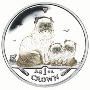 Silver Coloured Coin Himalayan Cat 2005 Cats Series - 1 oz