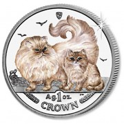 Silver Coloured Coin Chinchilla Cat 2009 Cats Series - 1 oz