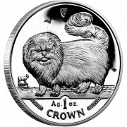 Silver Coin Long-Haired Smoke Cat 1997 Cats Series - 1 oz