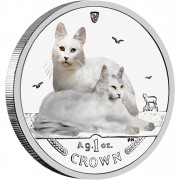Silver Colored Coin Turkish Angora Cat 2011 Cats Series - 1 oz