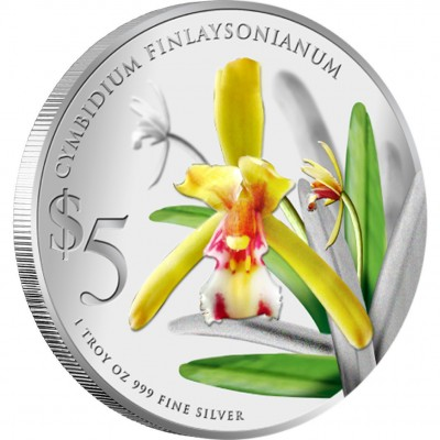 "Silver Coin CYMBIDIUM FINLAYSONIANUM 2011 ""Native Orchids of Singapore"" Series"