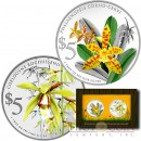 Singapure Native Orchids of Singapore Series $10 Two Colored Silver coin set 2014 Proof 2 oz