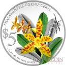 Singapure PHALAENOPSIS CORNU-CERVI $10 Native Orchids of Singapore Series Colored Silver coin 2014 Proof 1 oz