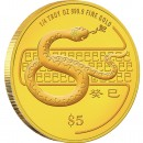 "Gold Coin SNAKE 2013 ""Lunar"" Series, Singapore - 1/4 oz"